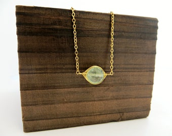 Prehnite Gemstone Pendant Necklace - 14k Gold Filled Chain or Satin Hamilton Gold Plated Brass Chain
