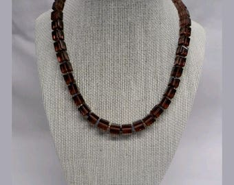 Handmade Plum Pressed glass Bead Necklace, with glass seed bead accents
