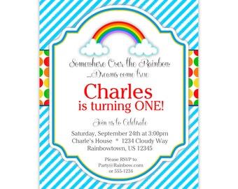 Rainbow Invitation - Blue Stripes, Red Yellow Orange Green Polka Dots, Rainbow Personalized Birthday Party Invite - Digital Printable File