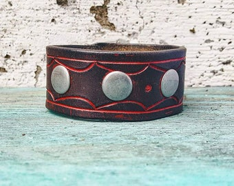 Boho Brown/Red  Leather Cuff Bracelet Tooled Leather Strap Bracelet Western Jewelry Southwest Bohemian Wrap Bracelet