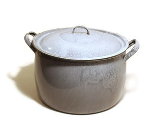 SALE Grey Granitware Enamel Stock Pot, 12 Qt EXC Lidded with Handles, Holiday Cooking
