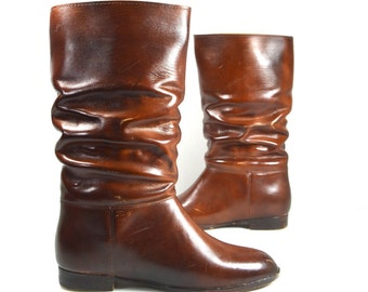 SALE Insulated Rain Snow Winter Boots | Molded Rubber Slouchy Cognac Boots | Made In USA Whisky Brown All Weather Boots Sz 4 Junior 6 Women