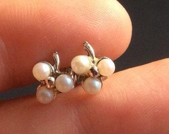 Pearl Stud Earrings In 925 Sterling