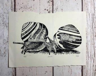 Snail print - handmade, limited edition linocut print