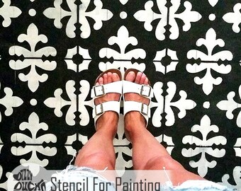 FLORENCE TILE STENCIL - Mediterranean Italian Wall Furniture Floor Craft Stencil for Painting - FLOR01