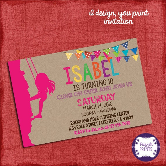 Rock Climbing Invitation Girl Birthday Invitation I