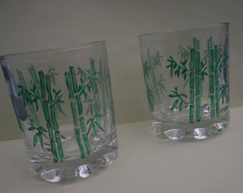 Glass painted appetizer - bamboo in a set of two