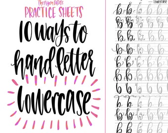 Hand Lettering Practice Sheets | 10 Ways to Hand Letter the Alphabet | Lowercase | Learn Brush Calligraphy