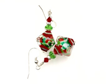 Christmas Lampwork Earrings, Handmade Glass Bead Earrings, Red Green White Dangle Earrings, Lampwork Jewelry, Statement Drop Earrings