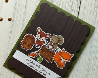 Thank You Card - Handmade Thanks From All of Us Card - Woodland Critters Hand Stamped Card - Forest Animals Card - Fox Deer Hedgehog Card