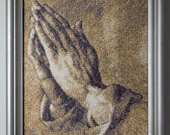 """Religious embroidered painting """"Praying Hands"""" - Religious gift - Gift for priest - Gift for pastor - Retirement - Christian housewarming"""