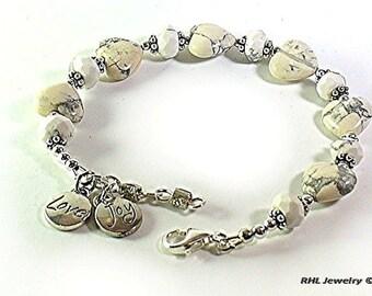 White Howlite Chakra Bracelet, Crown Chakra Jewelry, Gemini Stone, White Bracelet - B2015-04