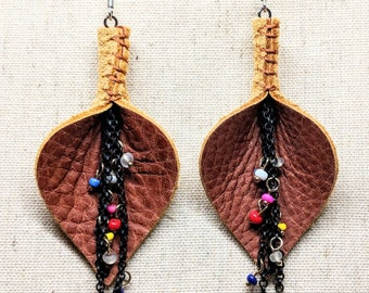 Leather Earrings / Vagina Earrings  / Lightweight  Earrings / Leaf Design / Boho Earrings / Boho Style / Feminist Earrings / Hypoallergenic