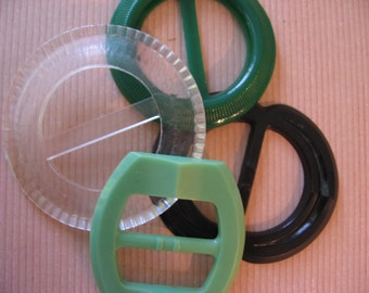 Selection of 4 Vintage Plastic Buckles, Black, Clear, Green, Various Sizes - 1950's