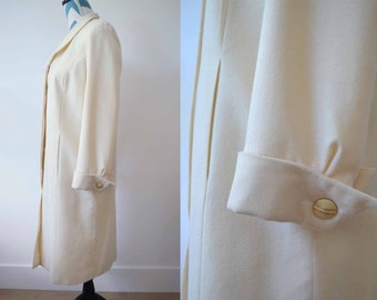 Vintage Cream Long Wool Crepe Coat Dress 1960s Style Minimalist Mod - Tailored by Harlan - Small - Size 4