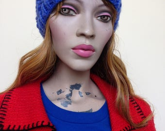 Vintage blue knitted beanie
