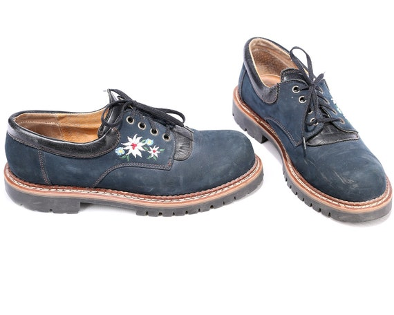 Embroidery Shoes Suede UK 5 Us Fit Blue 41 Wide Vintage Lace Mens 7 Shoes Men's 80s Floral Navy Ethno Edelweiss 8 Eur Ethnic Up wa1tgra
