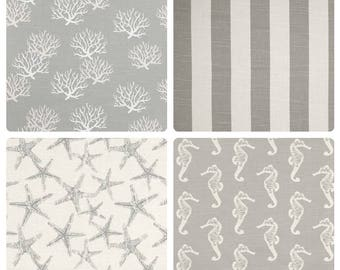 Coastal Gray Valance.Grey Curtain Valance.Beach Theme WindowValance.Gray Kitchen Valance.Seahorse Valance.Starfish Coral Valance