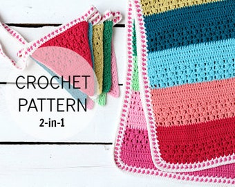 Crochet Pattern - Isak's Blanket & Bunting Set - 2 in 1 pattern - crochet blanket and crochet bunting pattern all in one - UK and US terms