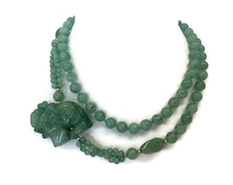Jade Elephant Necklace Vintage Jade Necklace Hand Knotted Jadeite Long Green Jade Side Pendant Necklace
