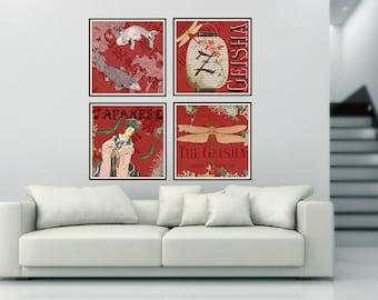 Japanese Geisha, Japanese Art, Geisha Art, Geisha Japanese, Japanese Geisha Art, Red Geisha, Japanese Red, Japanese Art Geisha, Red Japanese