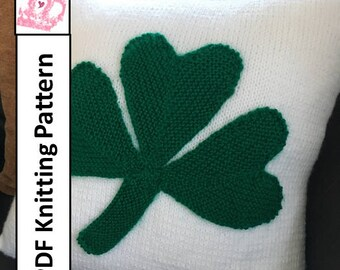 "knit pattern pdf, Shamrock knit pillow cover, cushion cover, 16""pillow cover, 40cm cushion cover"