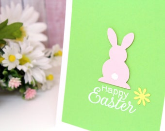 Happy Easter Card - Handmade Easter Card - Easter Greeting Card - Easter Cards - Easter Rabbit Card - Heat Embossed Cards - Handmade Cards