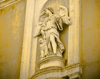 Guardian Angel, Protector of Children - Tuscany - sculpture - Fine art travel photography - Nursery art - gold, ivory