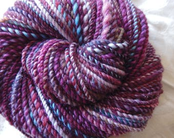 Amethyst Geode handspun Merino yarn, 115 yards of worsted weight and luscious colors