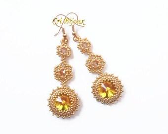 Bridal Earrings, Bohemian Jewelry, Long Earrings, Jewelry Gift, Bridal Gold Earrings, Bridesmaid Earrings Statement Earrings Wedding Jewelry