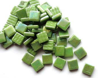 """12mm (1/2"""") Lime Kiwi Green Pearlized Recycled Glass Square Mosaic Tiles//Mosaic Supplies//Craft Supplies"""