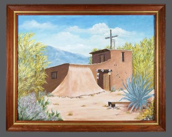 Vintage Ruth Moeller Oil Painting DeGrazias Chapel In The Sun On Canvas Panel Signed
