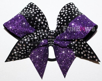 Gorgeous  Purple Glitter and  rhinestone cheer bow by FunBows ! - Customize This !