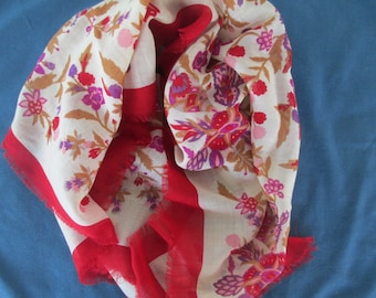 Vintage Floral Scarf Red, Purple, Gold and Tan Head Scarf Head Covering Neck Scarf Chemo Scarf Vintage Scarves