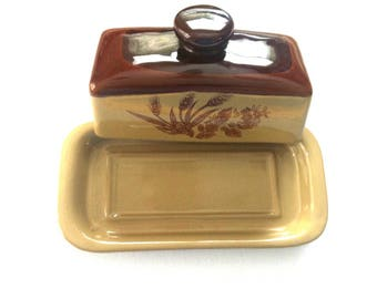 Butter Dish with Lid and Handle /Brown Ceramic Covered Butter Dish / Ceramic Lidded Quarter Pound Butter Dish /