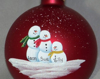 Personalized Family of Three Christmas Ornament