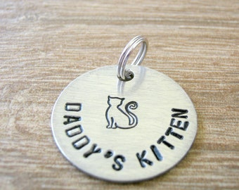 Daddy's Kitten Tag, Daddy's Kitten Collar Tag, Daddy's Baby Girl charm, 1 inch alkeme disc, DDlg tag, Daddy's pet, pet play, customize this