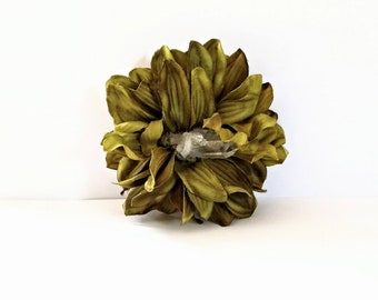 Olive Green Quartz Dahlia Hair Flower Clip
