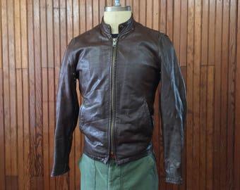 Vintage Fidelity Leather Boston Cafe Racer Jacket Motorcycle Men's 36 Brown