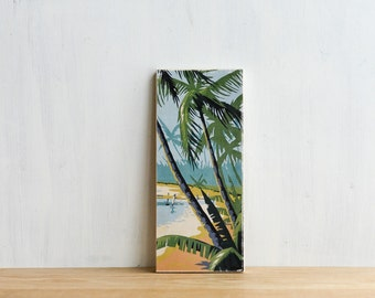 Paint by Number Art Block 'Tropical Beach' - vintage, palm trees, ocean, beach
