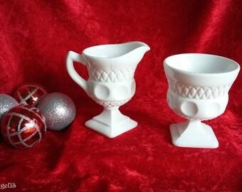 Vintage Indiana Glass Co. Kings Crown Thumbprint pattern milk glass sugar and creamer set