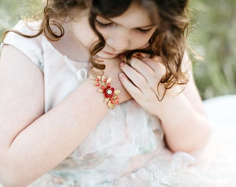Red and Gold Bracelet, Gold Flower Girl Bracelet, Gold Leaf and Red Flower Girl Bracelet, Flower Girl Jewelry Bracelet, Emma Bracelet