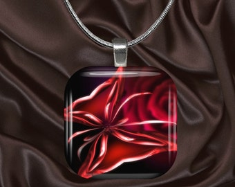 Red Glass Butterfly Glass Tile Pendant with chain(CuBu5.3)