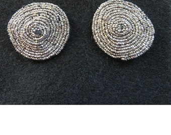 Vintage Silver Beaded Shoe Clips, 1950's She Clips