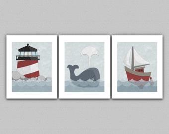 Nautical Nursery Art, Sailing Art, Sailboat Art, Whale Art, Lighthouse Art, Playroom Decor, Large Print Set, Nautical Theme, Red Blue