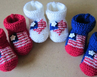 Baby 4th of July HAND KNITTED booties - Many sizes - U.S.A. / American / Patriotic flag