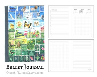 A5 Bullet Journal, Bujo Planner, Undated Diary | Landscape Postage Stamp Art, Flowers & Butterflies | Mother's Day Gift for Boho Home Office