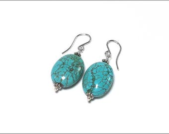 Turquoise Earrings - Oval Turquoise and Sterling Silver Bali-Style spacer beads