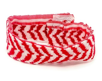 "Handmade and Hand Stitched - 100% Cotton - Red and White Bracelet - (8.5"" x 1.1"" x 0.1"")"