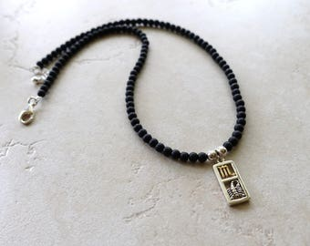 Scorpio Zodiac Necklace, Sterling Silver Scorpio Charm, Matte Black Onyx Beaded Chain,  Scorpio Jewelry, Scorpio Jewellery